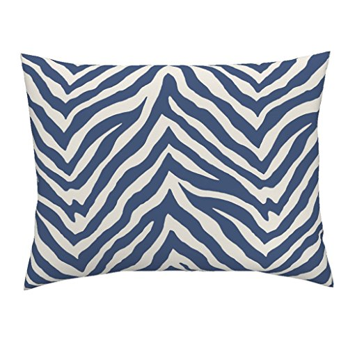 (Roostery Blue Zebra Stripe Euro Knife Edge Pillow Sham Zebra Animal Safari Stripes Blue Zebra Animal Stripes Safari Animal Print by Willowlanetextiles 100% Cotton Sateen)