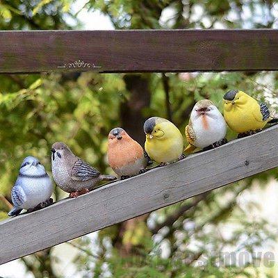 Christmas Tree Store Michigan - Set of 6 Lifelike Resin Birds Model Figurine Room Garden Outdoor Decoration