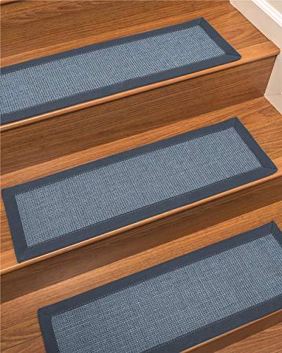 NaturalAreaRugs 100% Natural Fiber Cortona, Sisal Blue, Handmade Custom Stair Treads Carpet Set of 4 (9