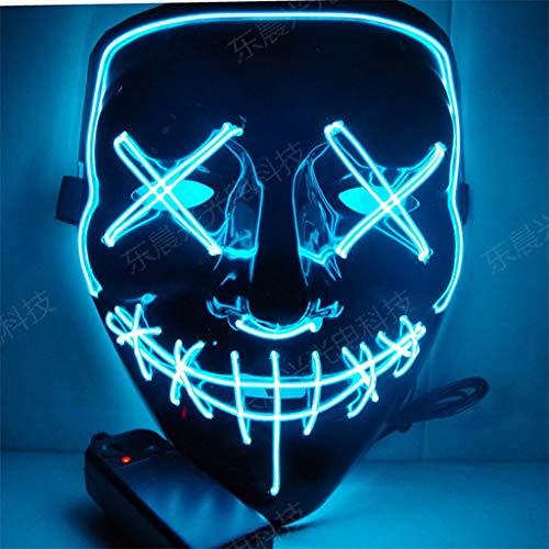 Handmade Halloween LED Mask The Purge Election Year LED Light Up Mask Festival Halloween Costume Terrorist Glow Mask Strobe (Color : Blue)]()