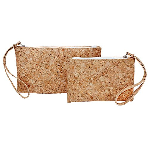Card Holder Coin Purse Bag (Boshiho Natural Cork Clutch Wristlet Wallet Cell Phone Card Holder Coin Purse Bag (2 Size))