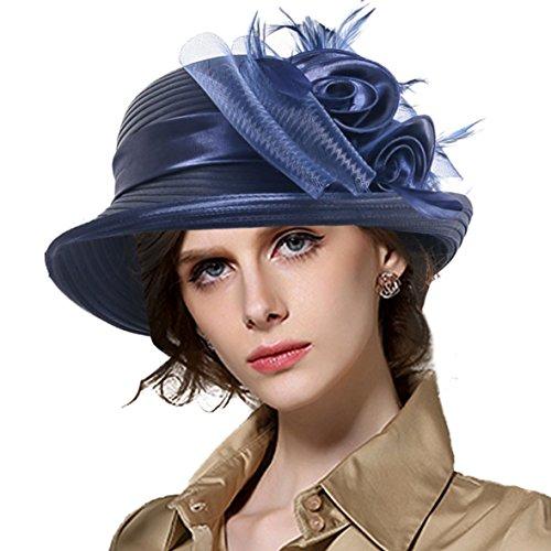 Lady Derby Dress Church Cloche Hat Bow Bucket Wedding Bowler Hats (Bowler-Navy),Medium
