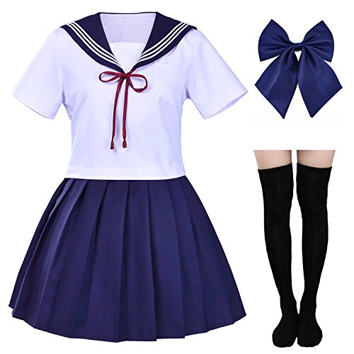 Japanese Sailor School Uniform Costume Anime Cosplay Dress Lolita Suit with Socks Set(S = Asia M)(SSF05DX) ()