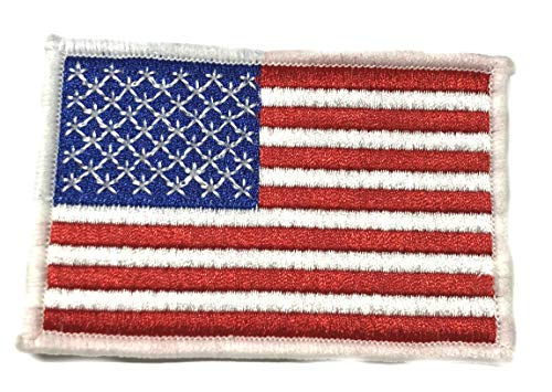 Emblem Patch World Series (American USA Flag Tactical Military Morale Embroidered Patch White Border America Military US World Flag Logo History Series Theme Iron or Sew-on Uniform Emblem Badge DIY Appliques Application Patches)