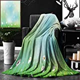 Unique Custom Double Sides Print Flannel Blankets Watercolor Flower Fairy Spring Blooms Pattern With Digital Made Bursts Ovary Green Blu Super Soft Blanketry for Bed Couch, Twin Size 60 x 80 Inches