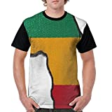 JIA LI Men's T-Shirts Africa Rasta Ethiopian Flag Full Printed Crew-Neck Classic Athletic Short Shirt Tops Tee