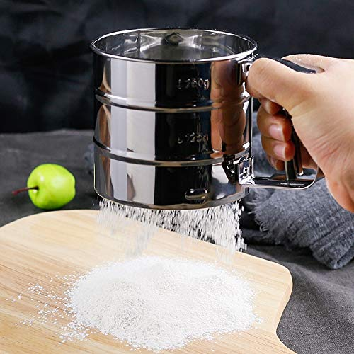 Multi-functional Kitchen helper Manual Mesh Flour Sugar Powder Stainless Steel Hand Sifter Sieve Cup Baking Tool by Lekai