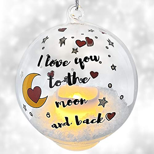 BANBERRY DESIGNS Glass Globe Ornament - LED Light Up -Christmas Ornament- I Love You to The Moon and Back - Hearts and Moons Glass Ornament for Christmas ()