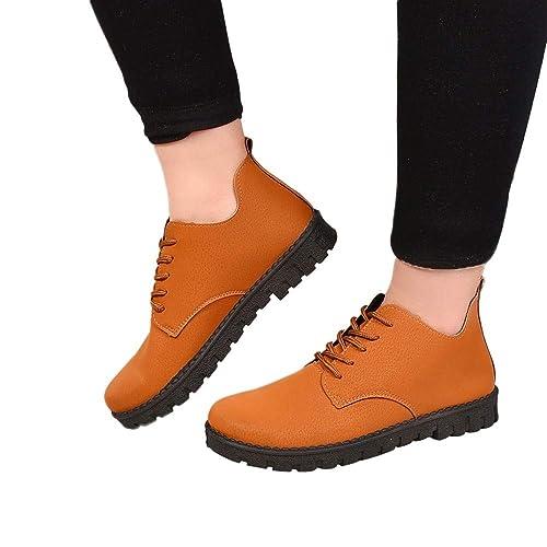 2018 Moda Otoño Invierno Zapatos Mujer con Cordones Mujer Martin Botas de Alto talón Botines Altos Talones Warm Piel Zapatos: Amazon.es: Zapatos y ...