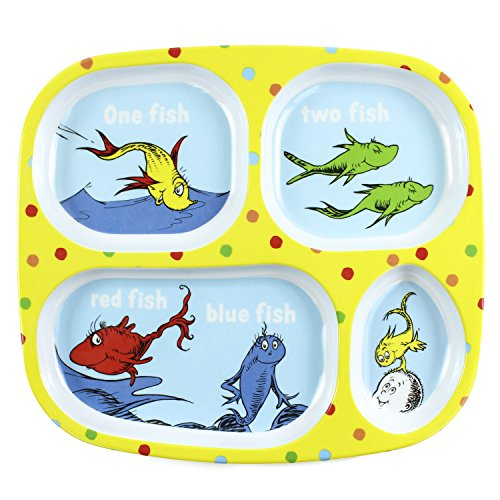 Bumkins Dr. Seuss Melamine Dishware, Yellow One - Fish Seuss Yellow
