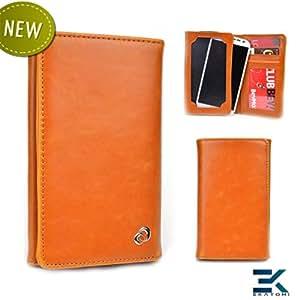 Samsung Galaxy Core Case | Universal Bifold Phone PU Leather Wallet - ORANGE TAN. Bonus Ekatomi Screen Cleaner