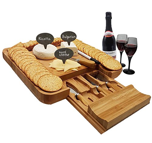 Bamboo Cheese Board & Cutlery Set with Slide-Out Drawer & Free Bonus - 3 Cheese Markers, Platter and Serving Tray for Wine, Crackers and Brie. Large Wooden Plate Server & Fancy Housewarming Gift