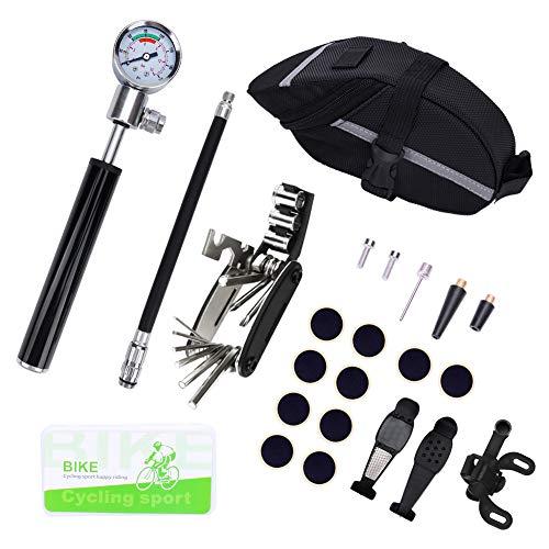 Hovome Bike Tire Repair Tool Kit, 210PSI Bicycle Air Pump Schrader Presta, Tire Puncture Repair Kit, Multi-Tool of…