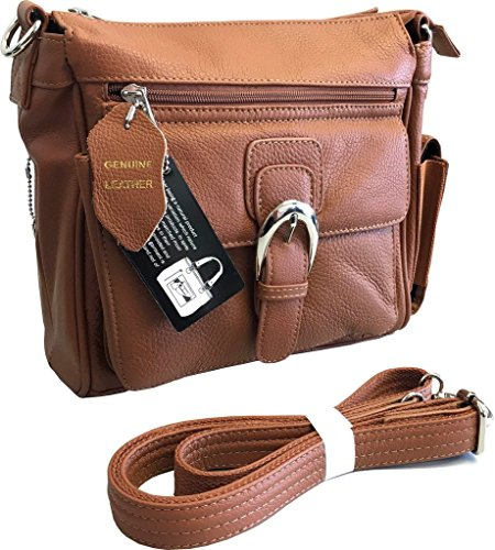 Roma F.C. Black Right or Left Draw Crossbody/Shoulder Carry - Leather Locking Concealment Purse/Gun Bag - CCW Concealed Carry Pistol, Light Brown