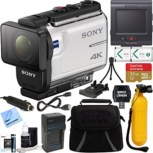Sony FDR-X3000R 4K Action Camera with Live View Remote + 32GB Memory Card & Accessory Bundle by Beach Camera
