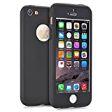 iPhone 5S Case, iPhone 5 Case, MCUK Full Body Coverage Ultra-thin Hard Hybrid Plastic with [Slim Tempered Glass Screen Protector] Protective Case Cover & Skin for Apple iPhone 5S/5 (Black)