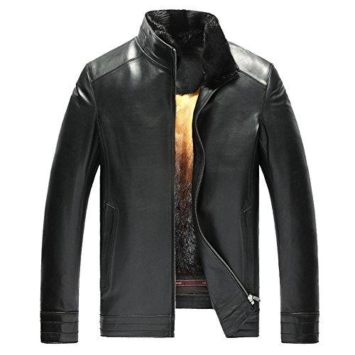 LINAILIN Men's Mink Fur Lined Lambskin Jacket Men's Removable Mink Fur Lined Leather Coat Sheepskin Short Outwear TJ26 (4XL, Black-Stand Collar)