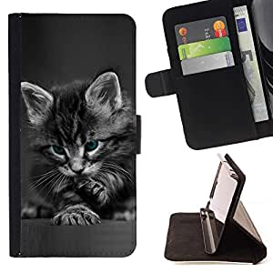 For Samsung Galaxy Note 4 IV Cute Paw Kitten Whiskers Grey Baby Cat Style PU Leather Case Wallet Flip Stand Flap Closure Cover