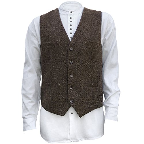 Men's Irish Full Back Herringbone Tweed Wool Blend Vest in 3 Traditional Color Choices (Brown, M)
