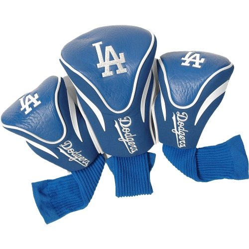 Team Golf MLB Los Angeles Dodgers Contour Golf Club Headcovers (3 Count), Numbered 1, 3, & X, Fits Oversized Drivers, Utility, Rescue & Fairway Clubs, Velour lined for Extra Club Protection