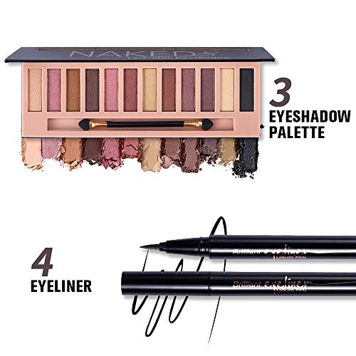 All in One Makeup Kit,12 Colors Naked Shimmer Eyeshadow Palette, Waterproof Black Eyeliner Pencil, Duo Pressed Eyebrow…