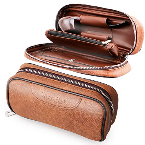 Scotte PU Leather Tobacco Smoking Wood Pipe Pouch case/Bag for 2 Tobacco Pipe and Other Accessories(Does not Include Pipes and Accessories) (Pipe Cleaning Kit)