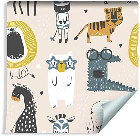 Muralo Papiers Peints pour Enfants Animaux Joyeux sur Fond Clair /Étoil/é Vinyle Cr/éatif D/écoratif Illustration 223430691