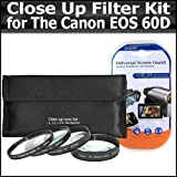 ButterflyPhoto Close Up Filter Kit For For Canon EOS 60D Digital SLR Camera Includes 67mm High Definition +1 +2 +4 +10 Close-Up Macro Filter Set + LCD Screen Protectors