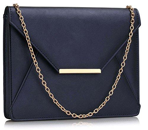 Leather New For Purses Design Designer 1 Large Ladies Shoulder Navy Chain Bag Clutch Handbag Womens With rqEwFrB4v