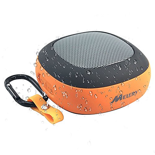 Melery Mini Portable Bluetooth Speakers Bass Outdoor Wireless Waterproof IPX4 with NFC and Stereo Sound for all the Bluetooth Devices-Orange Color