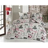 3 Pieces Twin Duvet Cover Set by LaModaHome, 100% Cotton Ranforce Fabric Bedding Set, Paris Theme Eiffel Tower Lettering Bonjour Je Taime Design, (Twin Size), Red White Black