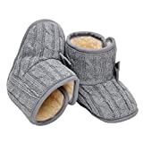 Annnowl Baby Snow Boots Knitted Crib Shoes with Bow 0-18 Months