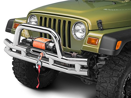 - Barricade Double Tubular Front Bumper with Winch Cutout - Polished - Jeep Wrangler YJ & TJ 1987-2006