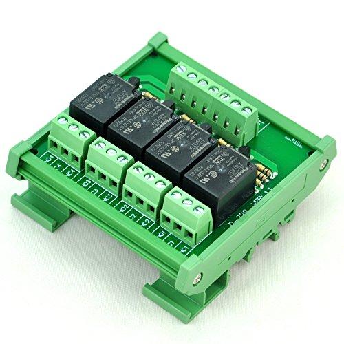 10 Interface Module (Electronics-Salon DIN Rail Mount 4 SPDT 10Amp Power Relay Interface Module, DC 12V Version.)