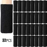 Zhehao 32 Packs Chair Leg Socks Knitted Furniture Socks Leg Floor Protectors Furniture Table Feet Covers (Black)