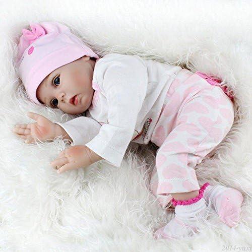 NEU Reborn Puppen Baby 55cm Lebensecht Handgefertigt Weich Silikon-Vinyl Mädchen