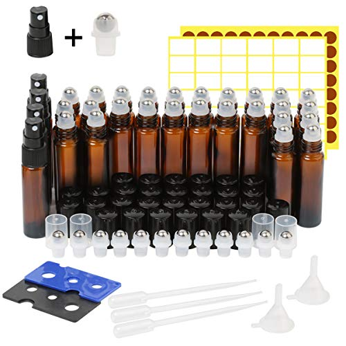 Essential Oil Roller Bottles,30 Pack 10ml Amber Glass Roller Bottles with Stainless Steel Roller Balls(4 Extra Spray,8 Extra Roller Balls,3 Dropper,2 Funnel,2 Opener,138 Label)