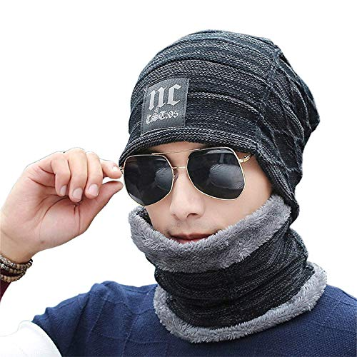 XYIYI Men's Winter Beanies Warm Knit Hat Scarf Set Thick Slouchy Knit Skull Cap