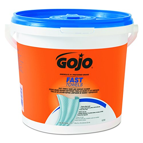 GOJO 6298-04 Fast Wipes Hand Cleaning Towels 130-Count (Pack of 1) (Antibacterial Safety Cleaning Wipes)
