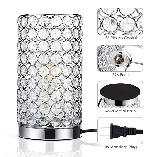 Crystal Table Lamp - Albrillo, Accent Desk Lamp Bedside Lamps, Modern Table Light with Silver Shade, Nightstand Lamps for Bedroom, Living Room by Albrillo (Image #5)