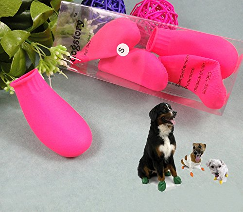 KYZ Outdoor Waterproof Socks Dog Rain Boots Ati-skid Pets Boots Paw Shoes Rubber (M, Pink)