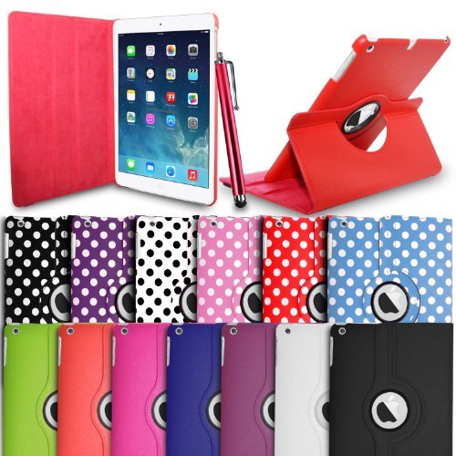 GBOS Apple iPad Air 5th Generation(1st Nov 2013) - Red Polka Dot 360 Degree Roatating Smart Leather Wallet Flip Stand Case Cover With Full Sleep Wake Comatibility+ Stlus Pen + Screen Protector + Polising Cloth (Red Polka)