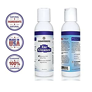 Wooferine ♥-NATURAL Liquid Ear Cleaner for Cats and Dogs-8oz. ♥ GUARANTEED FAST Relief From Itchiness or Redness Caused by Dirt, Mites, Infections and Skin Irritations. Removes Ear Wax & Debris Immediately! ♥ SAFE for Pets with Allergies. Made in The USA. ♥ 100% Money Back GUARANTEED!