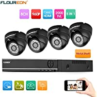 FLOUREON House Camera 8CH 1080N AHD CCTV DVR House Security System 5 IN 1 TVI + 4 X 2000TVL 960P HD Dome Indoor/Outdoor Camera Surveillance Security for Home/Apartment/Office/Factory/Store
