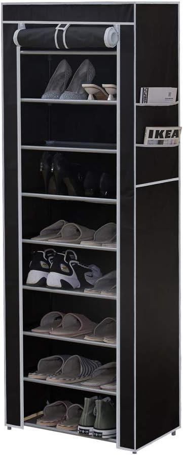 CLIPOP - Zapatero de 10 niveles, organizador de almacenamiento para zapatos, torre de zapatos con capacidad para 27 pares de zapatos con cubierta de ...