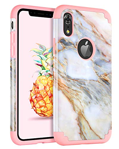 Hapitek Case for iPhone Xr Case Marble Protective Heavy Duty Hybrid Dual Layer Cute Marble Pattern Hard Back with Soft Silicone Rose Gold Slim Fit Case Cover for iPhone Xr 6.1 INCH (Marble Pattern B)