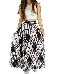 YSJ Womens Plaid Long Maxi Skirt - Bohemian Chiffon 360 Sunray Pleated Full Skirts