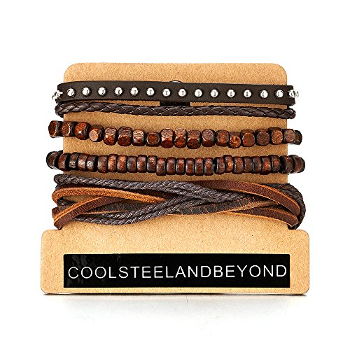 COOLSTEELANDBEYOND Mix of 4 Brown Wrap Bracelets for Men and Women, Multi-Strand Wood Beads Rivets Leather Wristbands