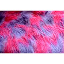 TrYptiX Long Pile Faux Fur Mongolian Fabric By the Yard - 1 Yard (One Yard, Lilac / Hot Pink / White)