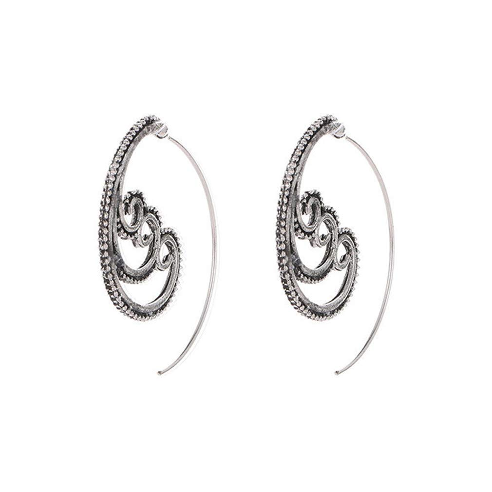 Dolland Bohemian Vintage Tribal Spiral Hoop Earrings Women Earrings Jewelry, Coral Silver